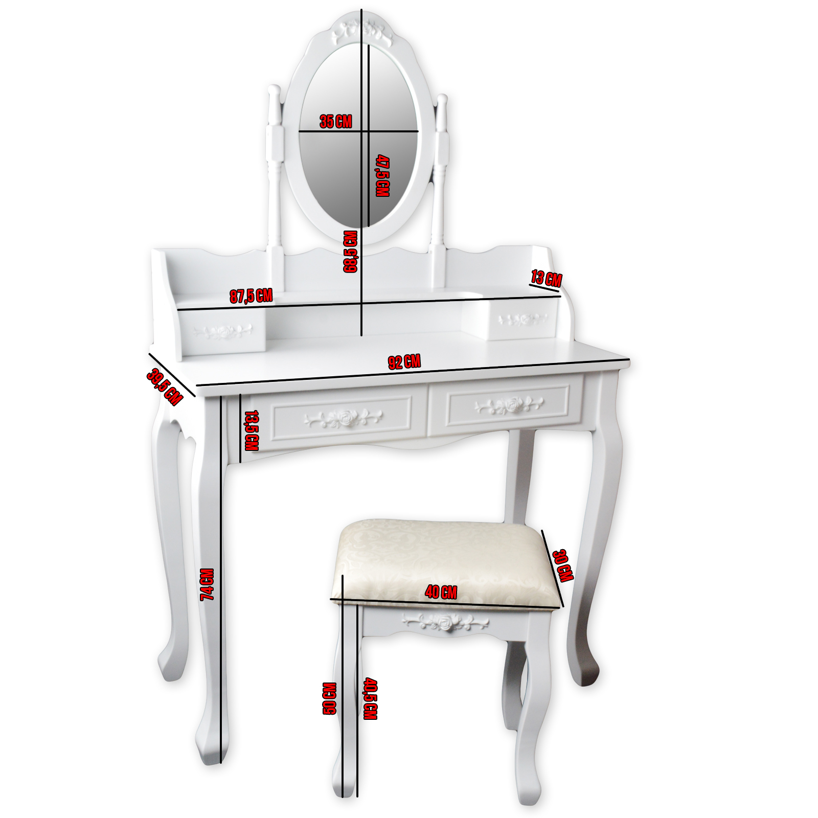 schminktisch frisiertisch kosmetiktisch mit spiegel hocker vintage shabby chic ebay. Black Bedroom Furniture Sets. Home Design Ideas