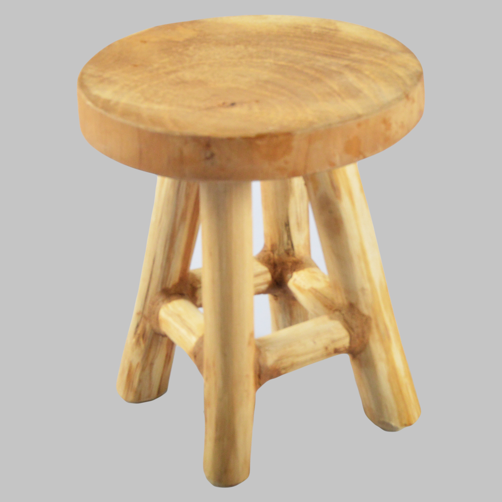 Deco stool wooden sitting round plant stand natural solid