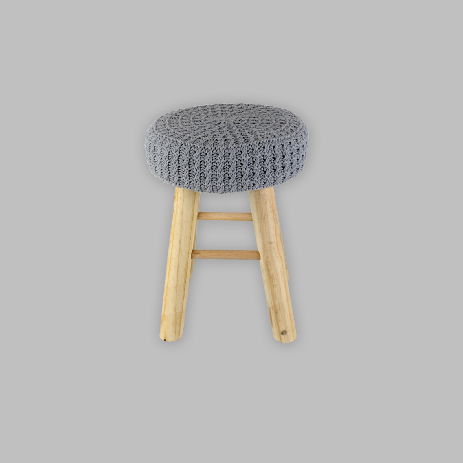 stool crocheted sitting shemel footrest wood effect chair. Black Bedroom Furniture Sets. Home Design Ideas