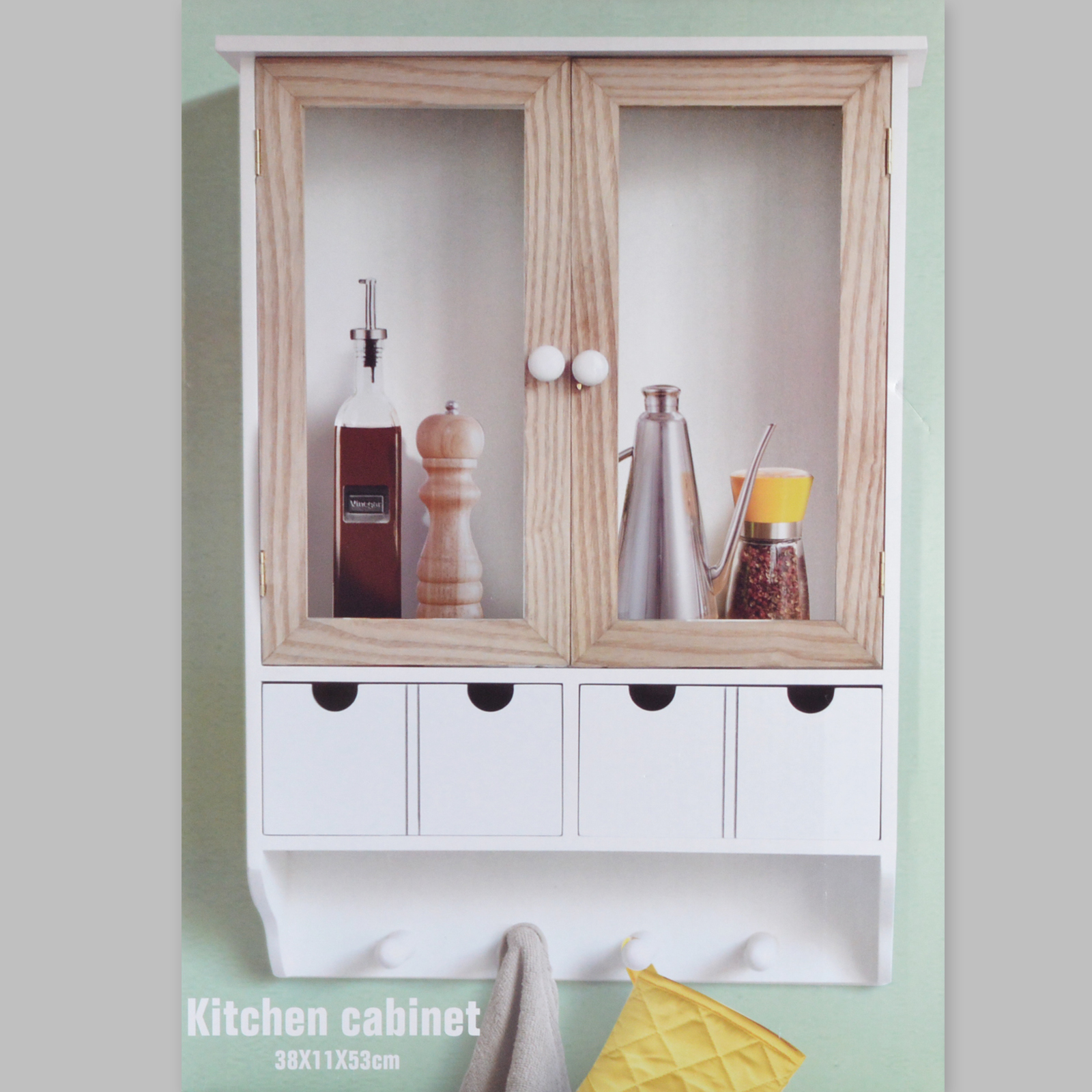 Kitchen Cupboard Wall Cabinet Hanging Wardrobe 4 Hook 4