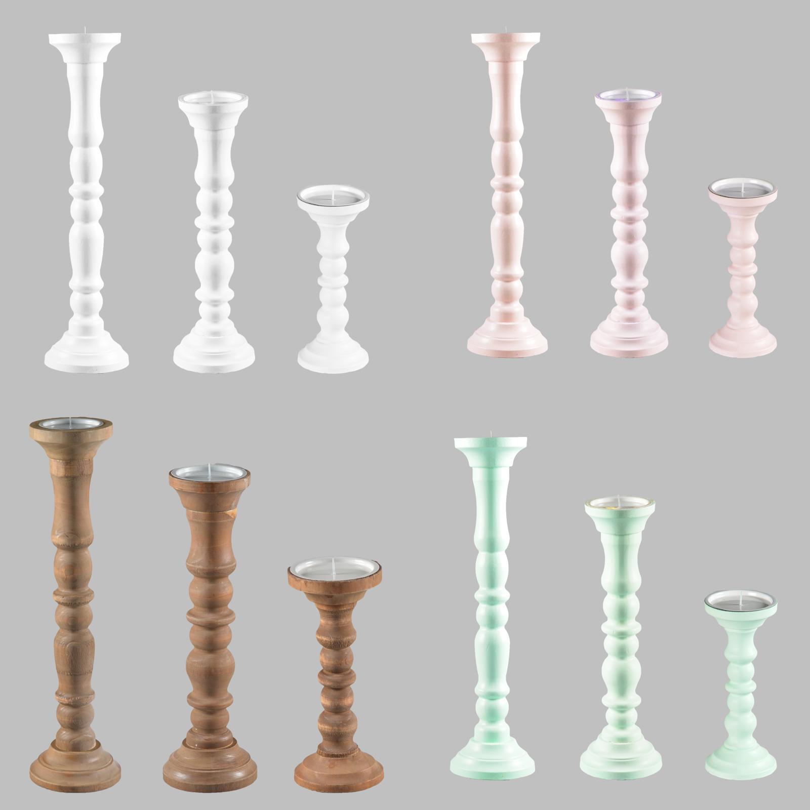 Kerzenständer Holz Shabby Chic ~ Vintage Kerzenhalter Kerzenständer Stumpenkerze 4 verschiedene Farben