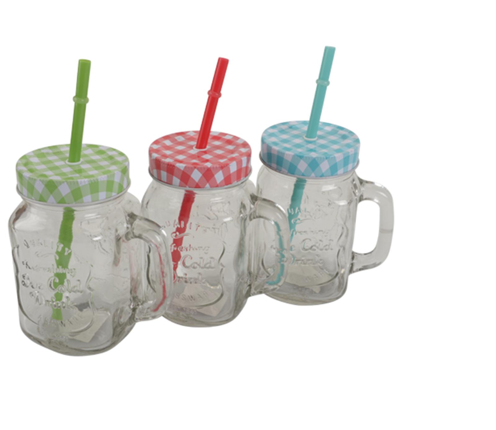 3 farben trinkglas henkel deckel trinkhalm trinkbecher for Deckel trinkglas