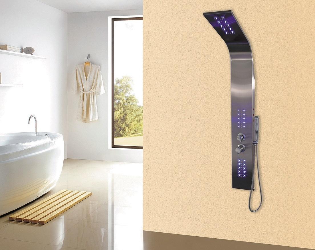 4 funktionen duschpaneel led beleuchtung duscharmatur thermostat duschs ule ebay. Black Bedroom Furniture Sets. Home Design Ideas