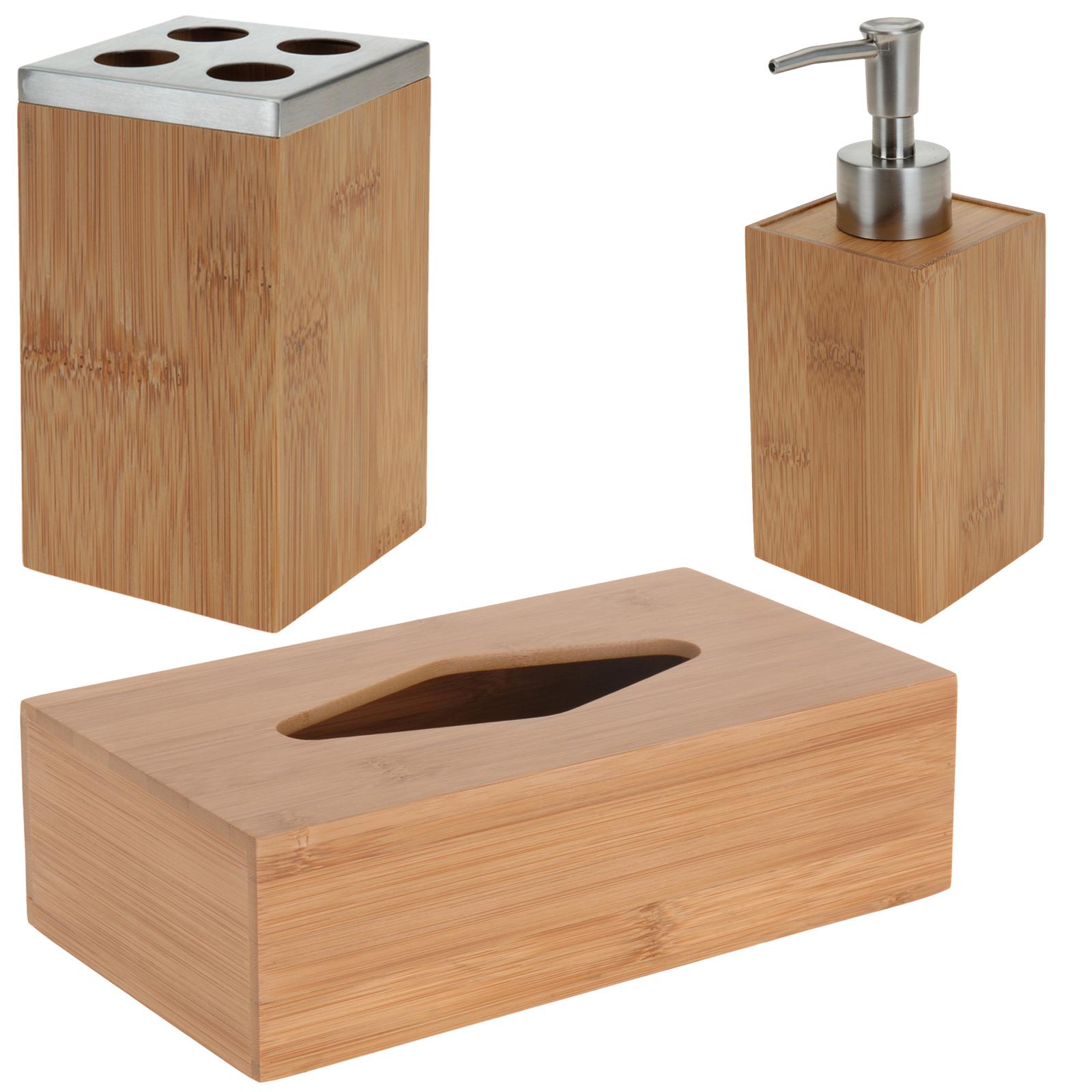 3tlg badserie bambus edelstahl seifenspender. Black Bedroom Furniture Sets. Home Design Ideas