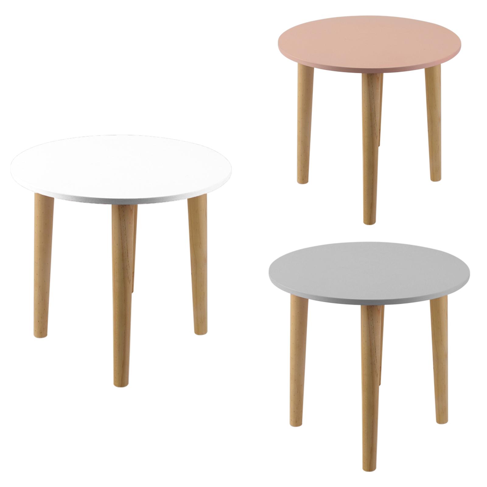 Esszimmertisch Weiss 3 #17: 3 Farben Beistelltisch Rund Tisch Nachttisch Esstisch Weiß Rosa