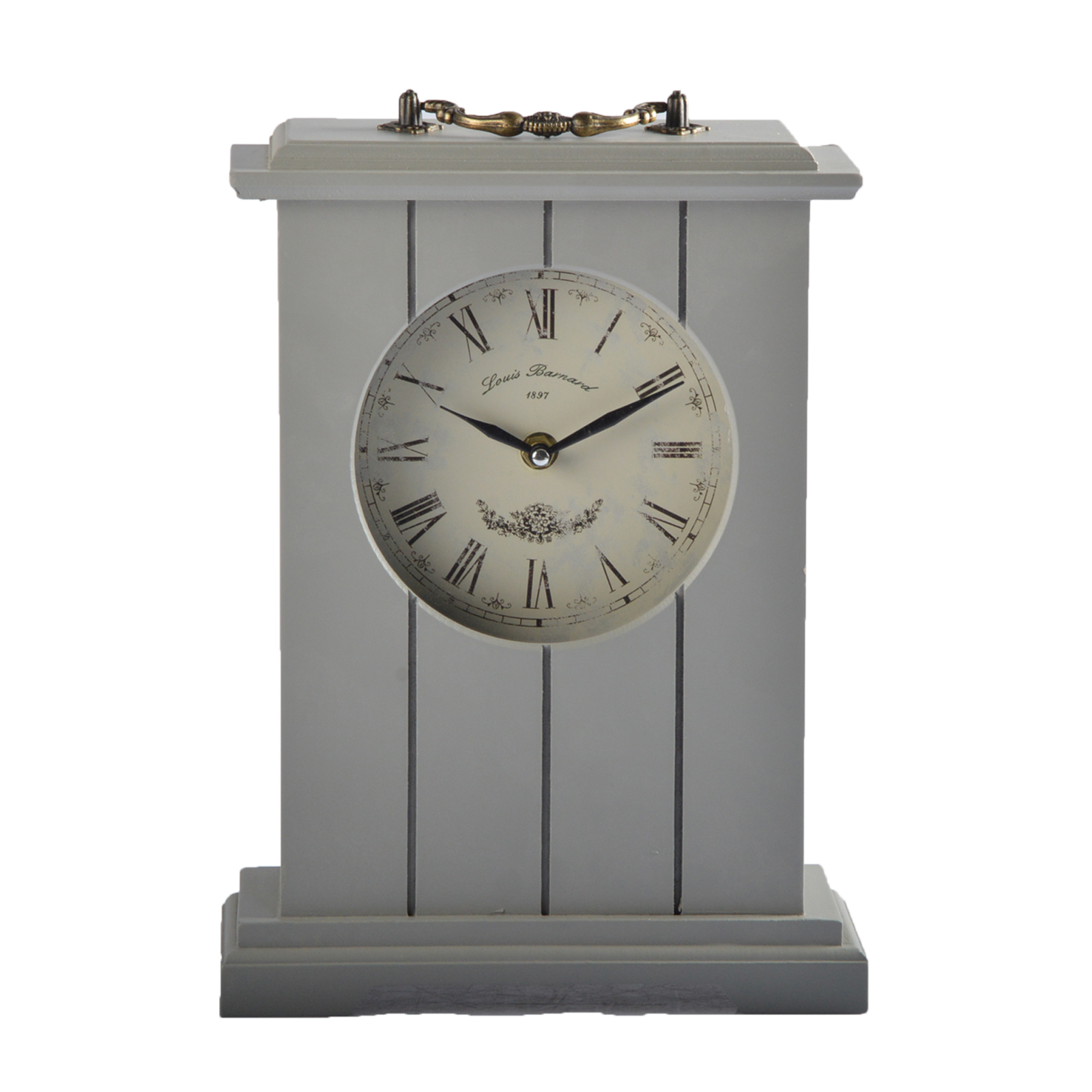 31cm standuhr tischuhr uhr holz vintage shabby chic landhaus grau wei ebay. Black Bedroom Furniture Sets. Home Design Ideas