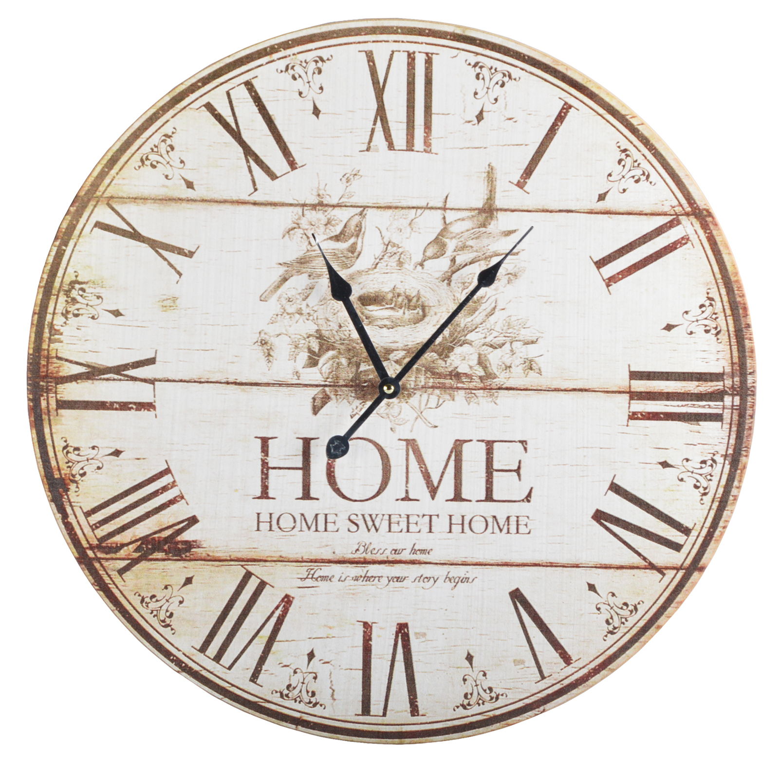53 cm wanduhr uhr wohnzimmer k chenuhr r hmische zahlen vintage shabby chic. Black Bedroom Furniture Sets. Home Design Ideas