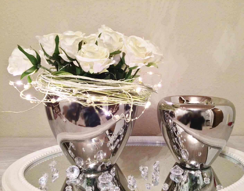 2er set keramik vase silber urne blumenvase dekovase. Black Bedroom Furniture Sets. Home Design Ideas