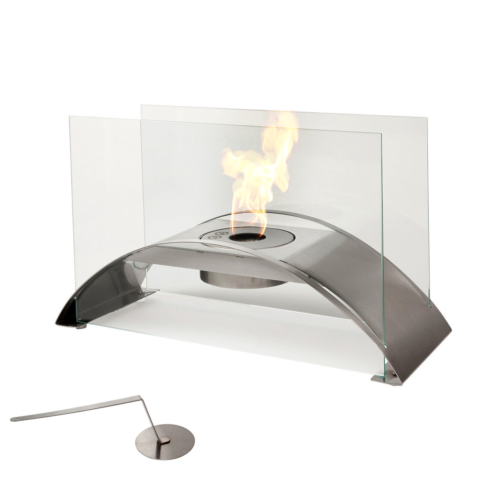 kreta bio ethanol fireplace stainless steel gel table silver new ebay. Black Bedroom Furniture Sets. Home Design Ideas